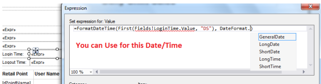 Rdlc DateTime Formula